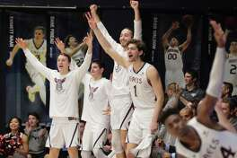The St. Maryís Gaels react to a three point shot made in the first half as the St. Mary's Gaels played the Santa Clara Broncos at McKeon Pavilion in Moraga, Calif., on Thursday, January 17, 2019.