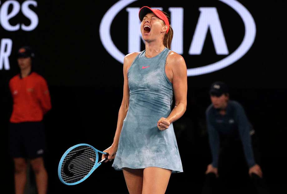 Russia's Maria Sharapova celebrates a point win over Denmark's Caroline Wozniacki during their third round match at the Australian Open tennis championships in Melbourne, Australia, Friday, Jan. 18, 2019. Photo: Kin Cheung, AP / Copyright 2018 The Associated Press. All rights reserved
