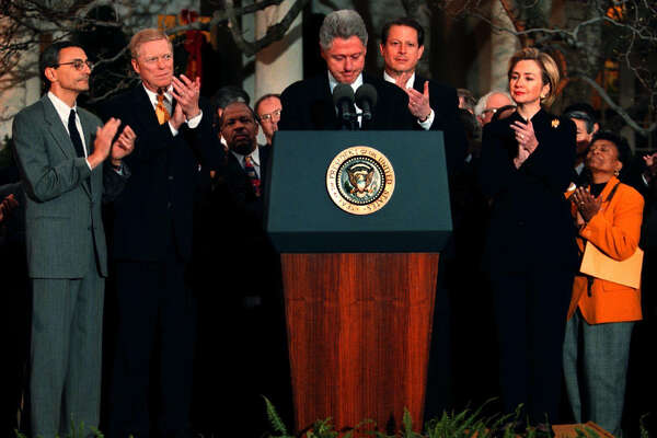 President Clinton is applauded (from left) by Chief of Staff John Podesta, House Minority Leader Richard Gephardt, D-Mo., Vice President Al Gore and first lady Hillary Rodham Clinton after reading a statement outside the Oval Office after the House of Represenatives voted to impeach him Dec. 19, 1998.