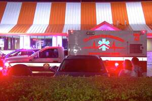 The victim and another man pulled into the Whataburger in the 12800 block of Interstate 10 at about 10:30 p.m. and a blue SUV carrying four suspects pulled up next to them.