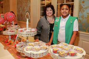 "Tina Clinkenbeard, owner of The Cupcake Cowgirls, and Auriana Larkin at ""Just Desserts,"" hosted by Girl Scouts of San Jacinto Council, and featuring treats made from Girl Scout Cookies by Top Local Chefs"