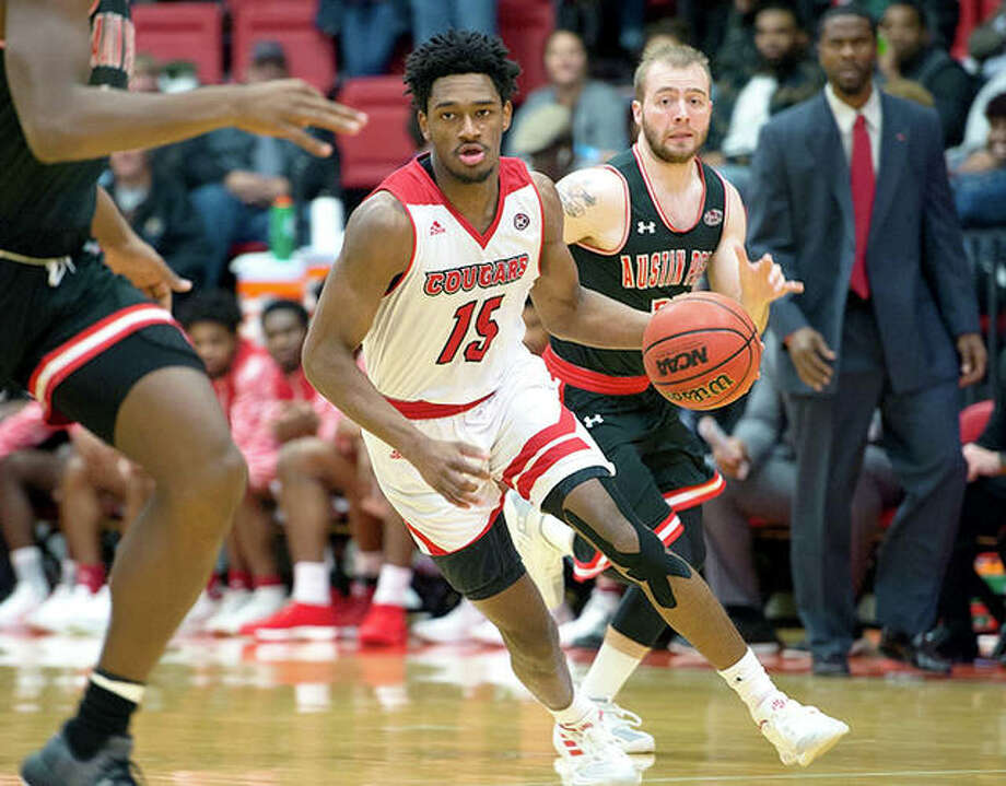 SIUE's David McFarland handles the basketball during Thursday night's game against Austin Peay at the Vadalabene Center.