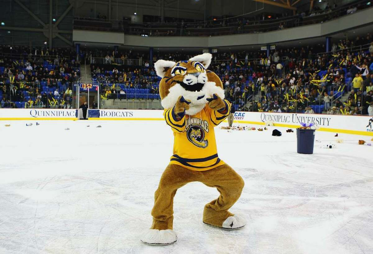 HAMDEN, CT - FEBRUARY 20: The Quinnipiac Bobcats mascot rallies the crowd at the Yale Bulldogs game on February 20, 2009 at the TD Banknorth Sports Complex in Hamden, Conneticute. Yale and Quinnipiac tied 3-3. (Photo by Mike Stobe/Getty Images (Photo by Mike Stobe/Getty Images)