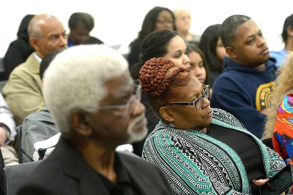 Audience members listen to the discussion as the Beaumont ISD School Board votes to approve a proposed partnership with charter providers to help three of its schools meet TEA requirements. Responsive Education Solutions and Phalen Leadership Academies are the charter providers being considered to work with Fehl - Price Elementary, Jones - Clark Elementary and Smith MIddle Schools. Photo taken Thursday, January 17, 2019 Photo by Kim Brent/The Enterprise