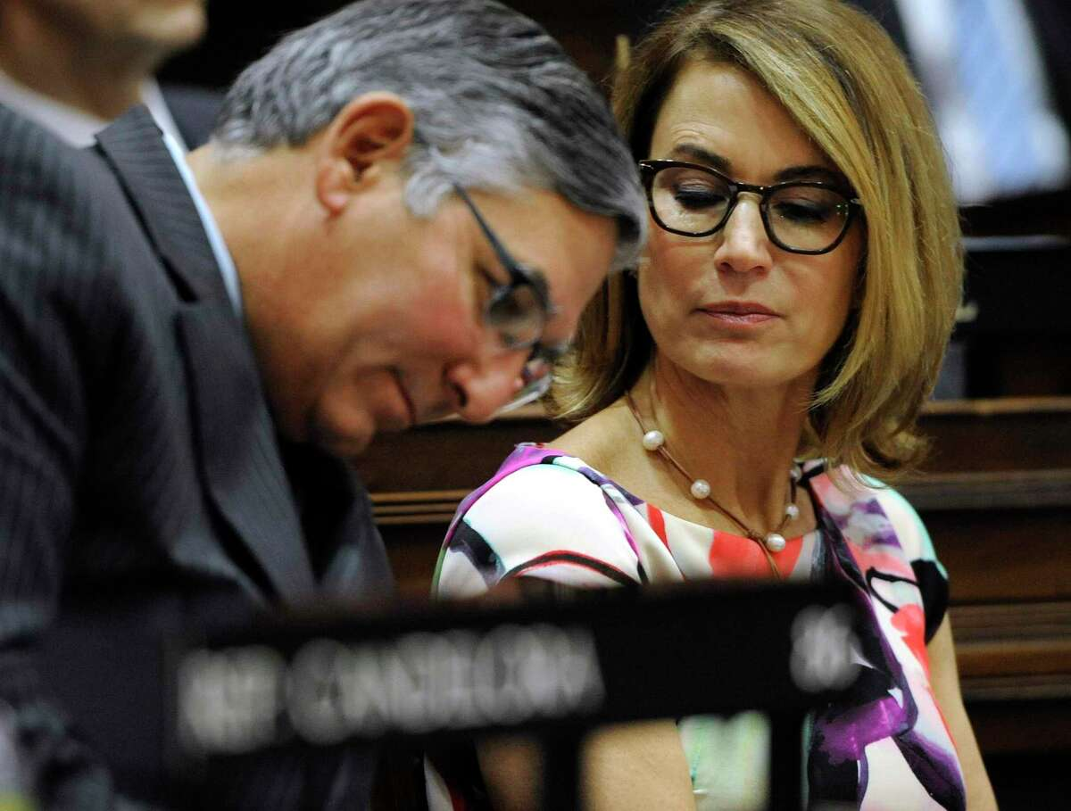 State Sen. Len Fasano, R-North Haven, left, and House Minority Leader Themis Klarides, R-Derby, in a file photo. After a nearly two-hour meeting with majority Democrats and Gov. Lamont on Tuesday said they remain opposed to trucks-only tolling.