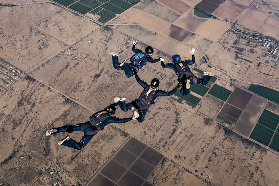 Greenwich High graduate Andrew Yin recently won a gold medal with his team, CT True Blue, in the advanced four-way formation skydiving event at the 2018 U.S. Parachute Association National Collegiate Parachuting Championships. Photo: USPA / David Cherry