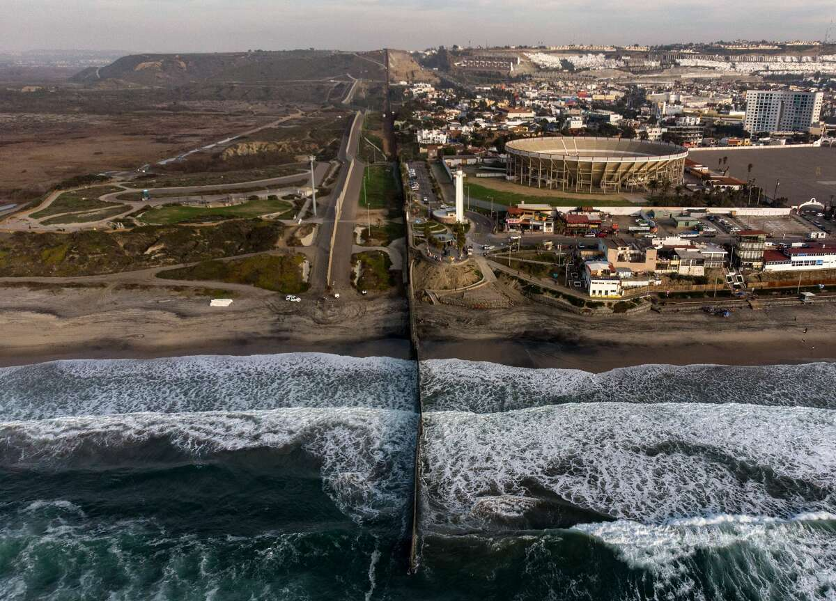 Aerial view of the US-Mexico border fence seen from Playas de Tijuana, Baja California state, on January 11, 2019.
