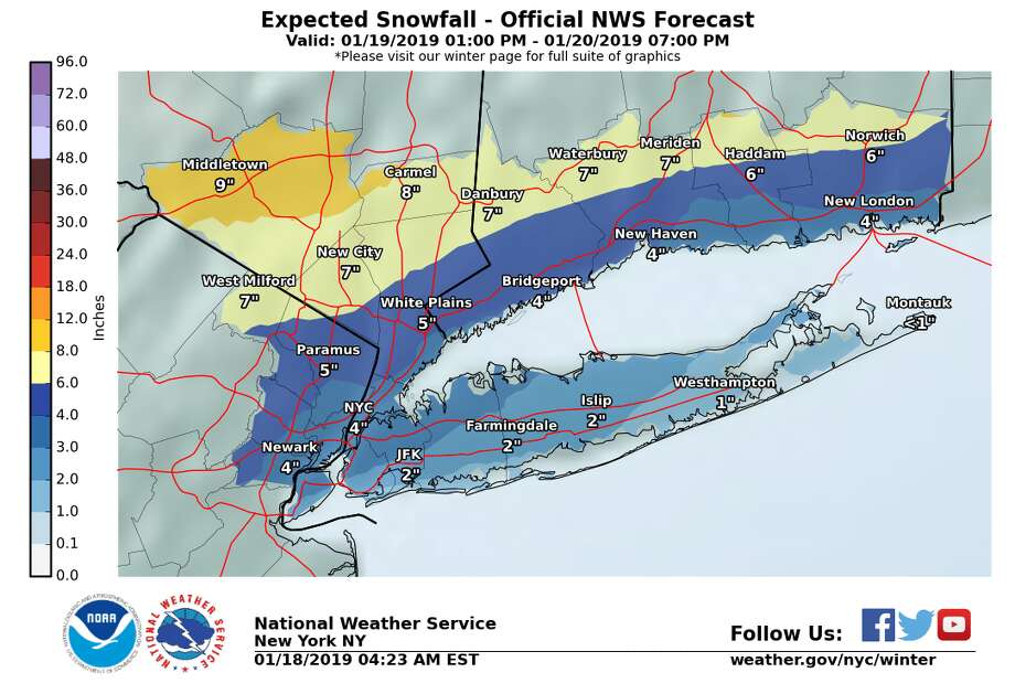 Expected snowfall totals. Photo: National Weather Service