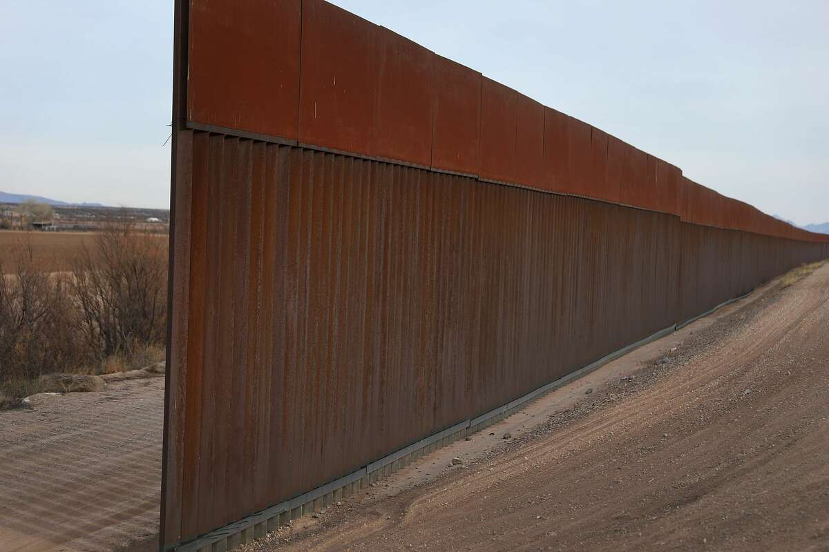 """Wall construction Trump: """"The Fake News Media keeps saying we haven't built any NEW WALL. Below is a section just completed on the Border. Anti-climbing feature included. Very high, strong and beautiful! Also, many miles already renovated and in service!"""" - tweet Friday, showing a section of bollard wall."""