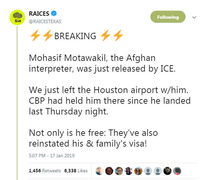 Raices Texas announced Mohasif Motawakil's release on Twitter.
