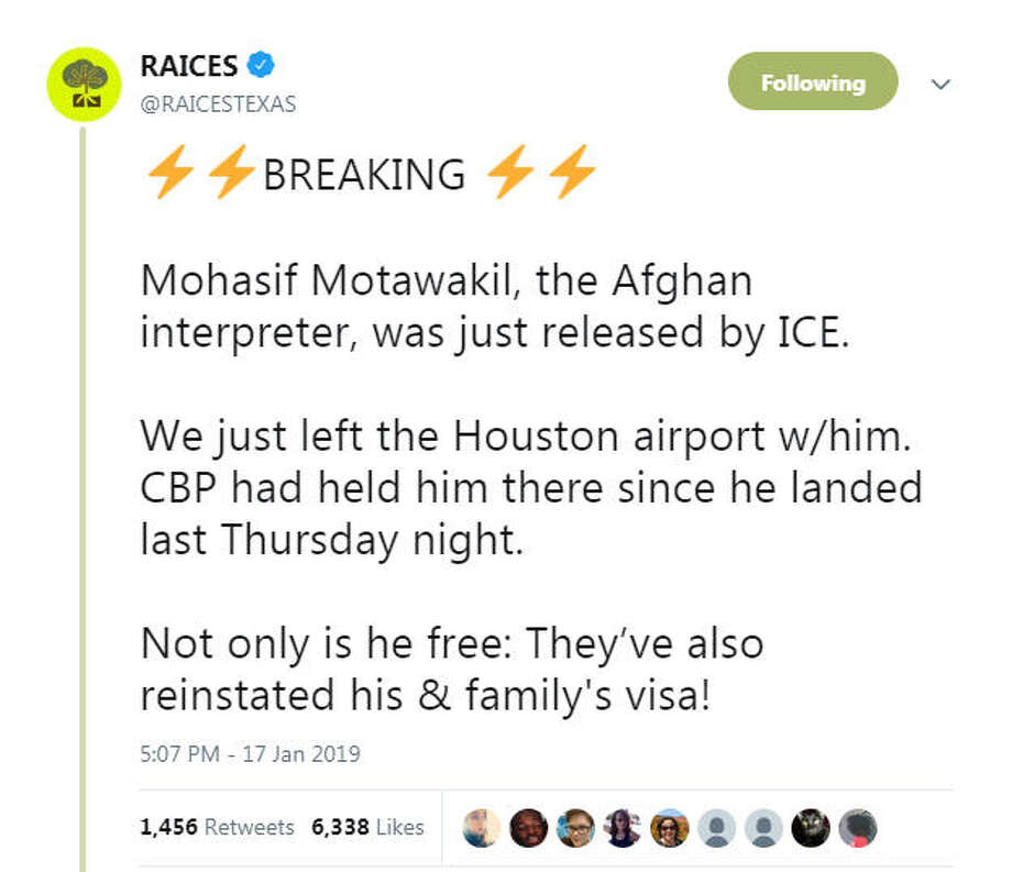 Raices Texas announced Mohasif Motawakil's release on Twitter. Photo: Twitter.com/RAICESTEXAS