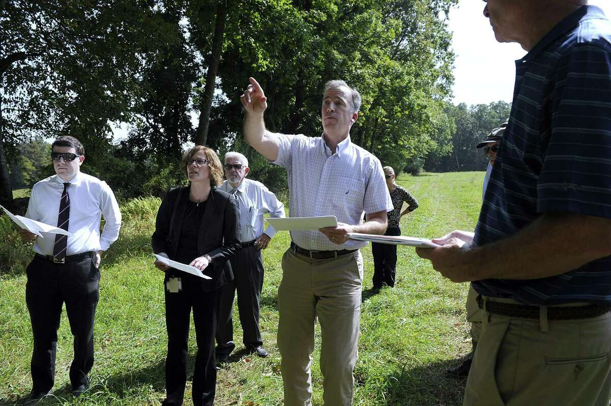 Joel Lindsay, with Ameresco Candlewood Solar, led the state Siting Council on a 2017 walking tour of the area proposed for a solar array on Candlewood Mountain in New Milford.