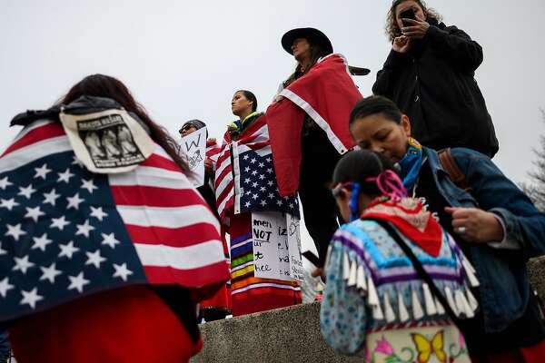 Activists listen to speakers during the Indigenous People's March on the National Mall at the Lincoln Memorial in Washington, DC, on January 18, 2019. (Photo by ANDREW CABALLERO-REYNOLDS / AFP)ANDREW CABALLERO-REYNOLDS/AFP/Getty Images
