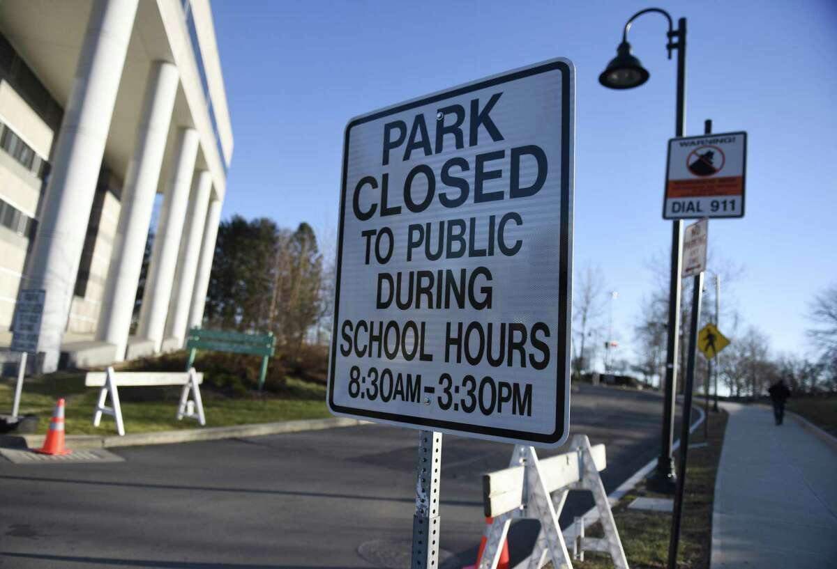 Kosciuszko Park is closed to the public during the hours of 8:30 a.m. to 3:30 p.m. while Westover Magnet Elementary School students are in school nearby at the school's temporary location on Elmcroft Road in Stamford, Conn. Tuesday, Dec. 18, 2018.