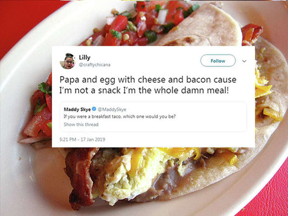 """@craftychiana: """"Papa and egg with cheese and bacon cause I'm not a snack I'm the whole damn meal!"""" Photo: Mike Sutter/San Antonio Express-News, Twitter"""