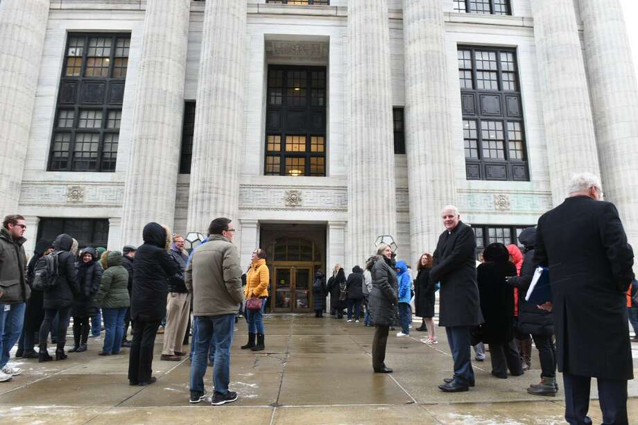 The State Education Department building in Albany was evacuated on Friday, Jan. 18, 2019, for a fire call. (Will Waldron/Times Union)  Photo: Will Waldron/Times Union