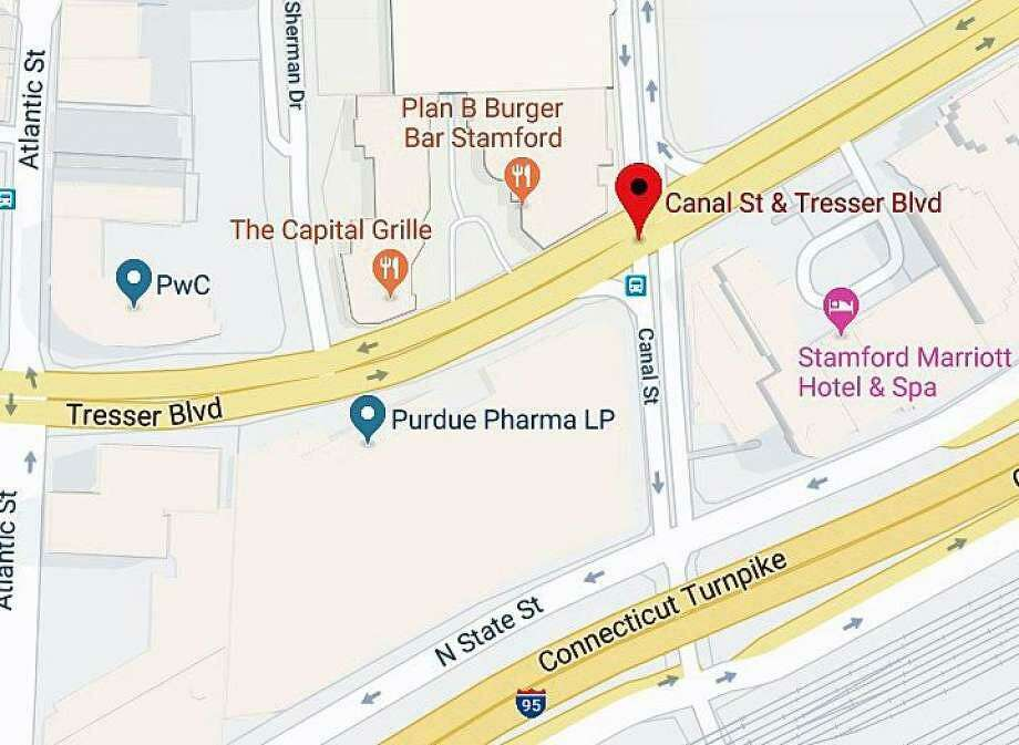 The fatal motorcycle accident occurred at the corner of Tresser Boulevard and Canal Street. Photo: Google Maps