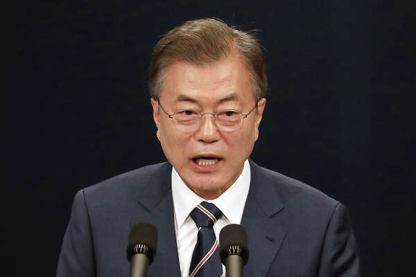 South Korea's President Moon Jae-in speaks during a news conference at the presidential Blue House in Seoul, South Korea, in May.