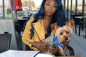 Roshaun Henry and her dog Harlem, who police say was taken this week from outside the Stop & Shop on Stamford's West Side.