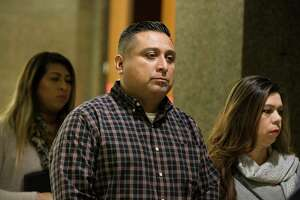 "Christopher Lopez leaves the  the 180th Criminal Court with   his family and his attorney after appearing to Judge DaSean Jones on Friday, Jan. 18, 2019, in Houston. Lopez, who is charged with manslaughter in the New Year's Day wreck that that involved a car full of egg-throwing teens, has been arrested a second time this week for a traffic-stopping stunt under Houston's iconic ""Be Someone"" bridge."
