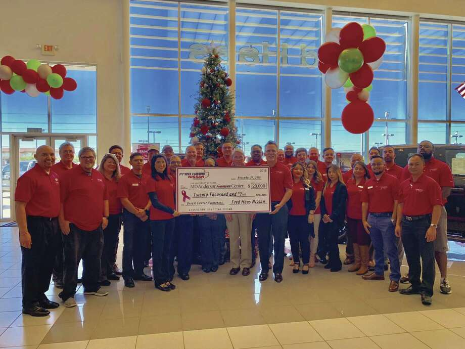 Fred Haas Nissan recently announced a $20,000 donation to MD Anderson Cancer Center, a contribution the dealership hopes to make an annual donation every October, with the goal of raising as much money as possible.