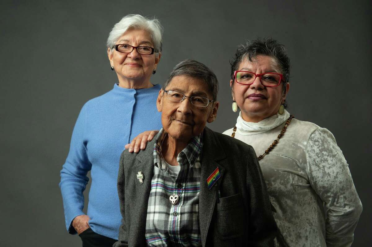 Nickie Valdez, center, was one of three women honored as San Antonio's peace laureates in January 2019. The others honored were Rebecca Flores, left, a former state director of the United Farm Workers, and Patricia S. Castillo of the P.E.A.C.E. Initiative.