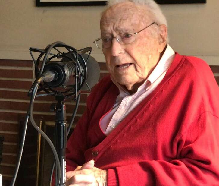 """David Perlman at his San Francisco home on Jan. 14, 2019, while appearing on The San Francisco Chronicle's """"The Big Event"""" podcast. Perlman worked for The Chronicle beginning in 1940 and retired in 2017."""