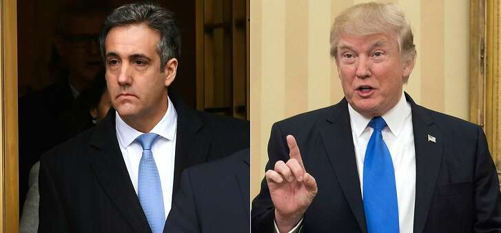 "(FILES)This combination of file photos created on December 13, 2018 shows US President Donald Trumps former attorney Michael Cohen(L) leaving US Federal Court in New York on December 12, 2018 after his sentencing after pleading guilty to tax evasion, making false statements to a financial institution, illegal campaign contributions, and making false statements to Congress, and a file photo taken on February 1, 2017 of US President Donald Trump speaking in the Oval Office at the White House in Washington, DC. - President Donald Trump's former lawyer Michael Cohen will testify in Congress next month, lawmakers said January 10, 2019, posing a potential new threat to the president as the Russia collusion investigation increasingly menaces the White House. The newly Democrat-controlled House Oversight Committee said Thursday that Cohen will testify in a public session on February 7.""I thank Michael Cohen for agreeing to testify before the Oversight Committee voluntarily,"" Committee Chairman Elijah Cummings said in a statement. (Photos by TIMOTHY A. CLARY and NICHOLAS KAMM / AFP)TIMOTHY A. CLARY,NICHOLAS KAMM/AFP/Getty Images"