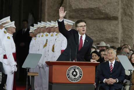Texas Lt. Gov. Dan Patrick delivers his inaugural speech after taking the oath of office during a ceremony at the State Capitol, Tuesday, Jan. 15, 2019. Gov. Greg Abbott is on the right and took the oath minutes later.