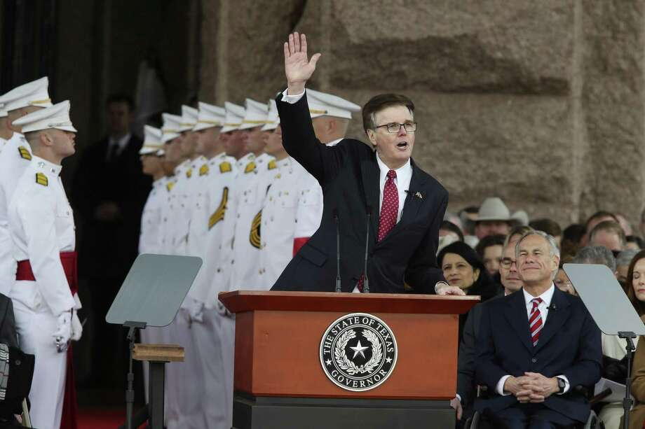 Texas Lt. Gov. Dan Patrick delivers his inaugural speech after taking the oath of office during a ceremony at the State Capitol, Tuesday, Jan. 15, 2019. Gov. Greg Abbott is on the right and took the oath minutes later. Photo: Jerry Lara / Staff Photographer / © 2019 San Antonio Express-News