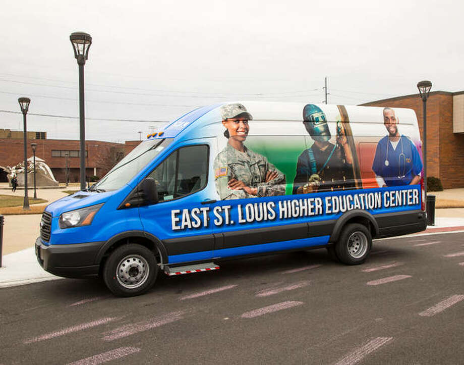 Lewis and Clark's new transit van, purchased with grant funds and seen here at the East St. Louis Higher Education Center (ESLHEC), will give students the opportunity to take classes at the college's Godfrey Campus or N.O. Nelson Campus in Edwardsville, in addition to the ESLHEC. Photo: Photo By Jan Dona, L&C Media Services