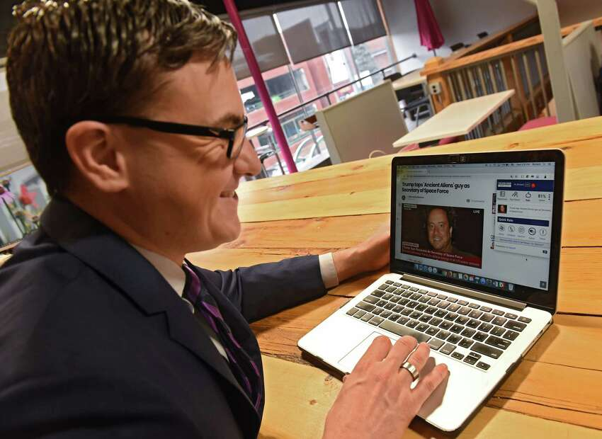 Richard Zack explains how to use the newstrition app he's been working on at the Troy Innovation Garage on Wednesday, Jan. 16, 2019 in Troy, N.Y. The app helps readers fact check stories and weed out fake news. (Lori Van Buren/Times Union)
