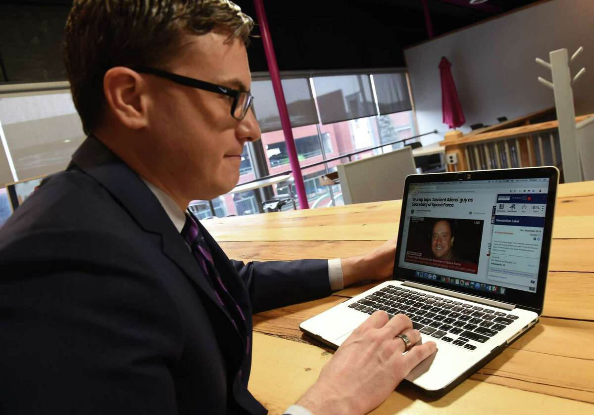 Richard Zack works on his online news curation platform our.news in the Troy Innovation Garage on Wednesday, Jan. 16, 2019 in Troy, N.Y. Zack is developing a tech start-up meant to help readers fact check stories and weed out fake news. (Lori Van Buren/Times Union)