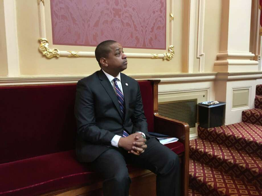 Virginia Lt Gov. Justin Fairfax, a Democrat, stepped off the rostrum in the Virginia Senate as a member paid tribute to Confederate Gen. Robert E. Lee on Friday, Jan.18, 2019, in Richmond, Va. Photo: Washington Post Photo By Laura Vozzella / The Washington Post