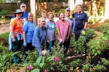 """The Woodlands Community Presbyterian Church is an Earth Care Congregation that cares for the churchs environmental commitments in four areas: worship, education, facilities and outreach. This photo shows their """"Thinners and Sinners"""" group working in the prayer garden."""
