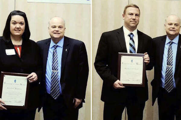 Alton Police Department Det. Sgt. Michael O'Neill, left, poses with his award and with Alton Police Chief Jason Simmons at Thursday's awards banquet. Alton Police Department Dispatcher Jenifer Martin, left, poses with her award and with Alton Police Chief Jason Simmons.