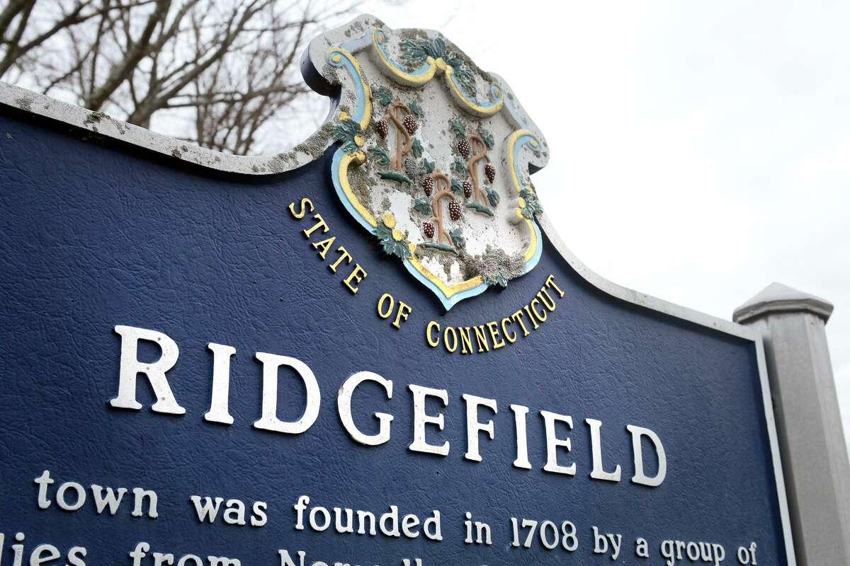 A roadside marker in Ridgefield, Conn.