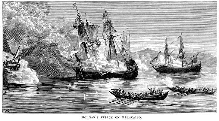 Engraving from 1878 shows Captain Henry Morgan's attack on Maracaibo, Venezuela. In March of 1669, the pirate Henry Morgan sacked Maracaibo, which emptied when his fleet was first spied, and moved on to the Spanish settlement of Gibraltar on the inside of Lake Maracaibo in search of more treasure.'