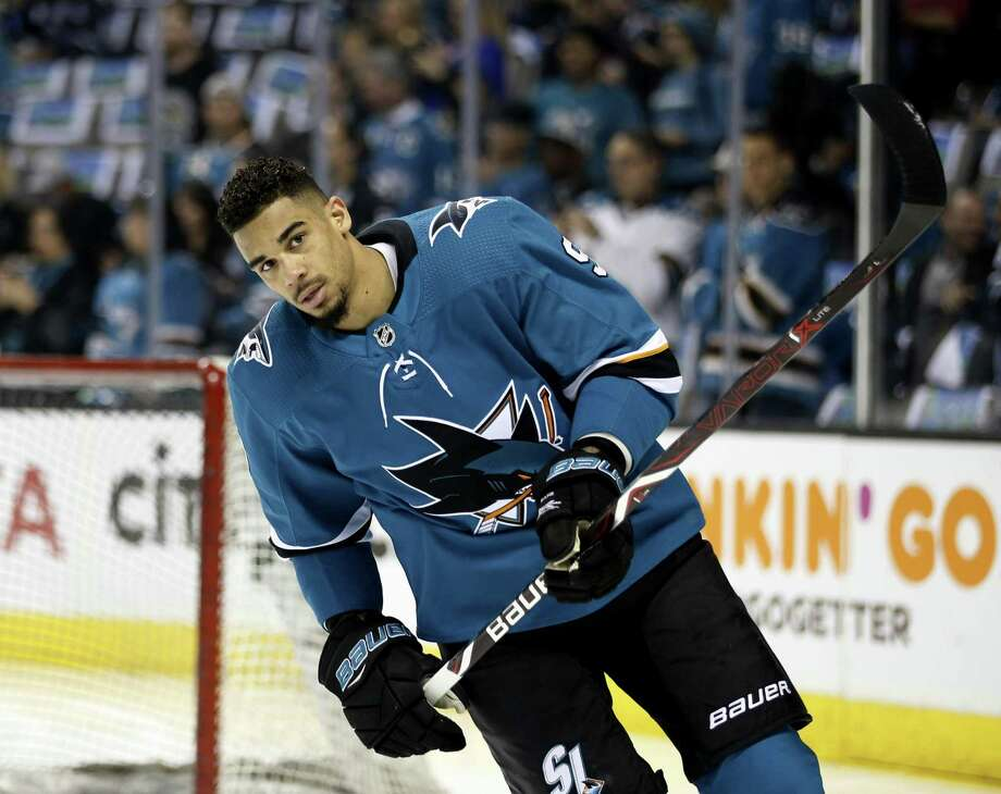 """San Jose Sharks left wing Evander Kane spoke out about racism in hockey after someone commented on an Instagram post of his telling him to """"stick to basketball"""" on Wednesday. Photo: Josie Lepe / Special To The Chronicle 2018 / ONLINE_YES"""