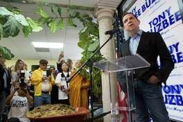 """High-profile lawyer Tony Buzbee denounces Houston Mayor Sylvester Turner giving city works to contractors who donated to Turner's compaign during a press conference at his Midtown/Asian campaign headquarters on Friday, Jan. 18, 2019, in Houston. Buzbee is running for Houston Mayor and brought in horse manure to express that """"something in the city hall stinks."""""""