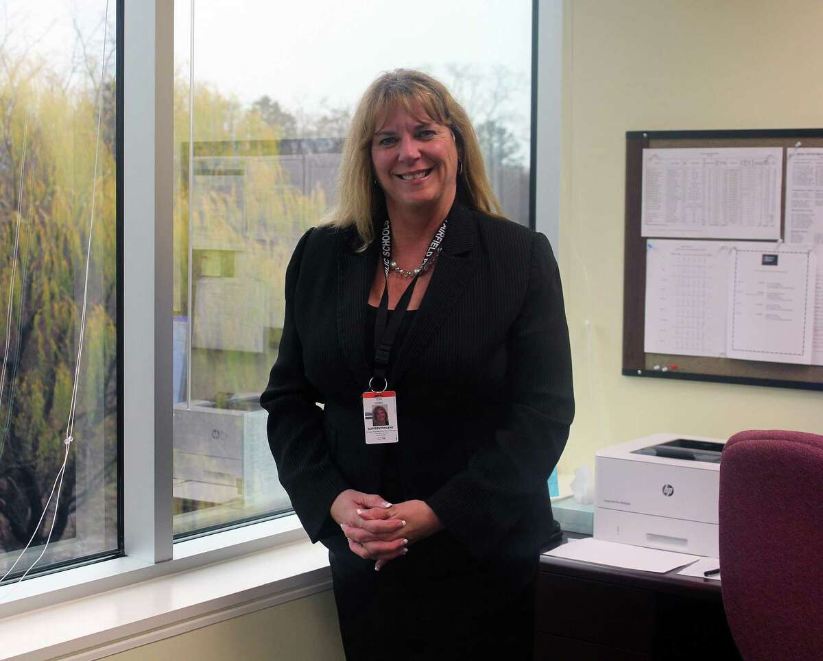 Superintendent of Schools Toni Jones, who starts Dec. 5, 2016, settles into her new office at district headquarters in Fairfield, Conn. on Nov. 30, 2016.