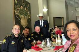 Precinct 3 Constable Sherman Eagleton (standing in the back) spoke at the Crosby-Huffman Chamber of Commerce's January luncheon at the Stonebridge in Newport on Jan. 17