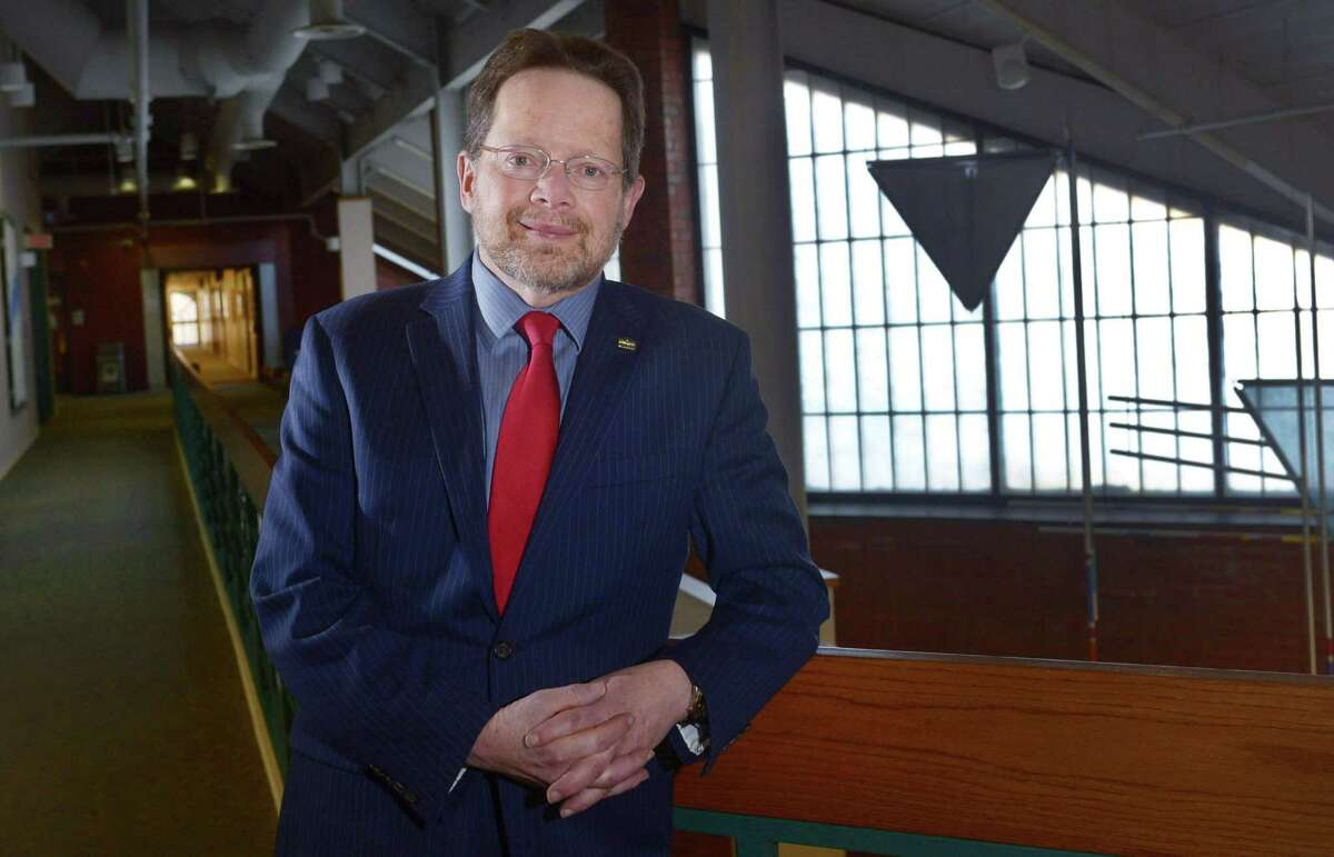 Norwalk Community College President, David Levinson Thursday, January 17, 2019, at the college in Norwalk, Conn. Levinson is retiring on June 30, after 15 years as president of the NCC.