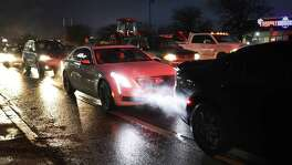 Traffic stacks up on Pat Booker Road at the intersection with FM 78 in front of Joint Base San Antonio Randolph, on Wednesday, Jan. 16, 2019.
