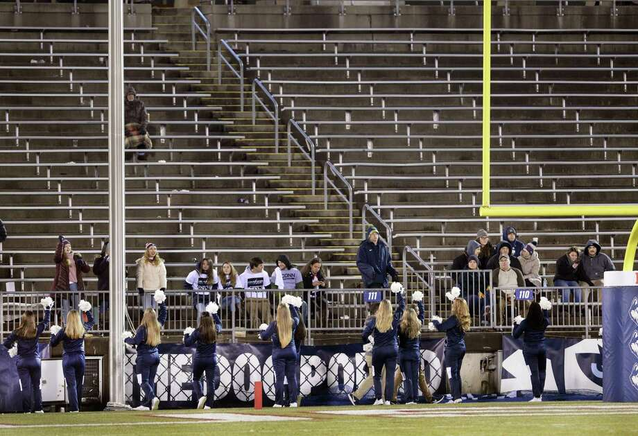 Connecticut had few fans in the stands at Rentschler Field during the second half of an NCAA college football game against Temple Saturday, Nov. 24, 2018, in East Hartford, Conn. Temple won 57-7. (AP Photo/Stephen Dunn) Photo: Stephen Dunn / AP / Copyright 2018 The Associated Press. All rights reserved