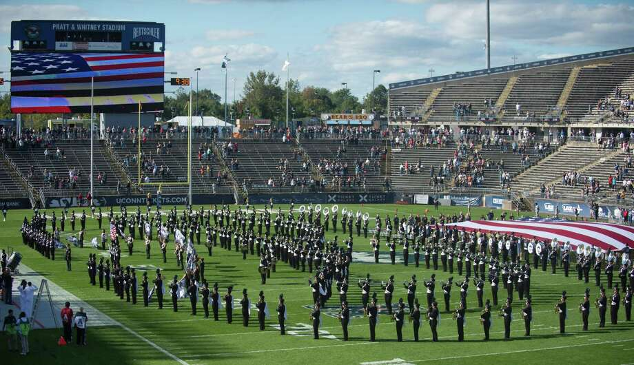 EAST HARTFORD, CT - SEPTEMBER 29: UConn band plays while the oversized flag is on the field prior to the start of the game as the Cincinnati Bearcats take on the UConn Huskies on September 29, 2018 at Rentschler Field in East Hartford, CT. (Photo by Williams Paul/Icon Sportswire via Getty Images) Photo: Icon Sportswire / Icon Sportswire Via Getty Images / ©Icon Sportswire (A Division of XML Team Solutions) All Rights Reserved ©Icon Sportswire (A Division of XML Team Solutions) All