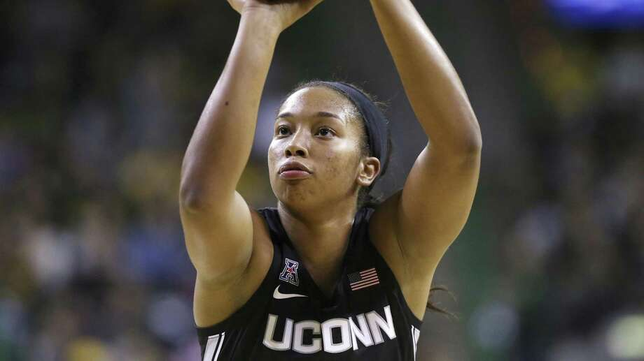 Connecticut guard/forward Megan Walker attempts a free throw during a UConn at Baylor NCAA basketball game on Thursday, Jan. 3, 2019, in Waco, Texas. (AP Photo/Jerry Larson) Photo: Jerry Larson / Associated Press / 2019 The Associated Press. All rights reserved.