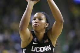 Connecticut guard/forward Megan Walker attempts a free throw during a UConn at Baylor NCAA basketball game on Thursday, Jan. 3, 2019, in Waco, Texas. (AP Photo/Jerry Larson)