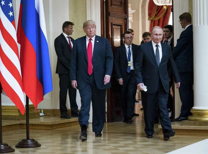 """President Donald Trump and Russian President Vladimir Putin after a meeting in Helsinki, Finland, July 16, 2018. """"Private"""" Trump conversations with foreign leaders have had a habit of being leaked, which could explain the president's reluctance to release contents of his conversations with Putin."""