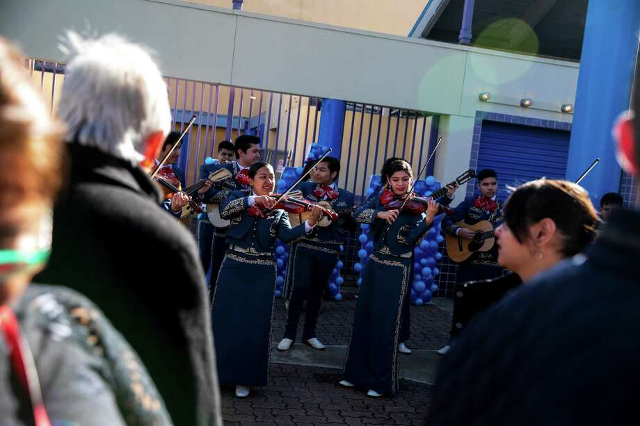 Mariachis perform at Guadalupe Plaza, site of Julián Castro's presidential announcement. For some, mariachi music is the sound of celebration; for others, it's the din of the unplanned. Photo: Ilana Panich-Linsman / New York Times / NYTNS